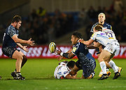 Sale Sharks Halani Aulika offloads a pass to Sale Sharks Mark Jones during the The Aviva Premiership match Sale Sharks -V- Exeter Chiefs  at The AJ Bell Stadium, Salford, Greater Manchester, England on Friday, October 27, 2017. (Steve Flynn/Image of Sport)