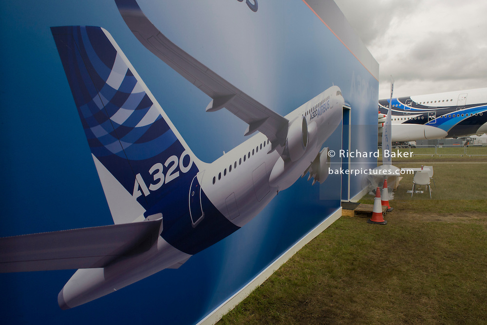 Landscape of a mural artwork of an A320 airliner outside one of the EADS company's chalets at the Farnborough Air Show.