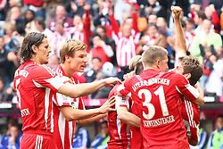 30.04.2011, Allianz Arena, Muenchen, GER, 1.FBL, FC Bayern Muenchen vs FC Schalke 04 , im Bild  Jubel nach dem Tor zum 2-1 durch Thomas Mueller (Bayern #25) mit Bastian Schweinsteiger (Bayern #31) Daniel van Buyten (Bayern #5) , EXPA Pictures © 2011, PhotoCredit: EXPA/ nph/  Straubmeier       ****** out of GER / SWE / CRO  / BEL ******