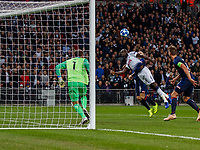 Football - 2017 / 2018 UEFA Champions League - Group B: Tottenham Hotspur vs. PSV Eindhoven<br /> <br /> Davinson Sanchez (Tottenham FC)  at full stretch desperate to reach the cross with his head at Wembley Stadium.<br /> <br /> COLORSPORT/DANIEL BEARHAM