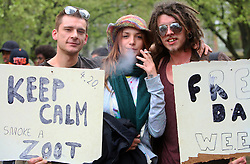 Hyde Park, London, 20/04/2014<br /> People attend a pro-cannabis rally in Hyde Park, central London. <br /> Photo: Anna Branthwaite/LNP