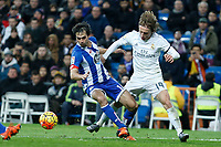 Real Madrid´s Luka Modric and Deportivo de la Coruna´s Arribas during 2015/16 La Liga match between Real Madrid and Deportivo de la Coruna at Santiago Bernabeu stadium in Madrid, Spain. January 09, 2015. (ALTERPHOTOS/Victor Blanco)