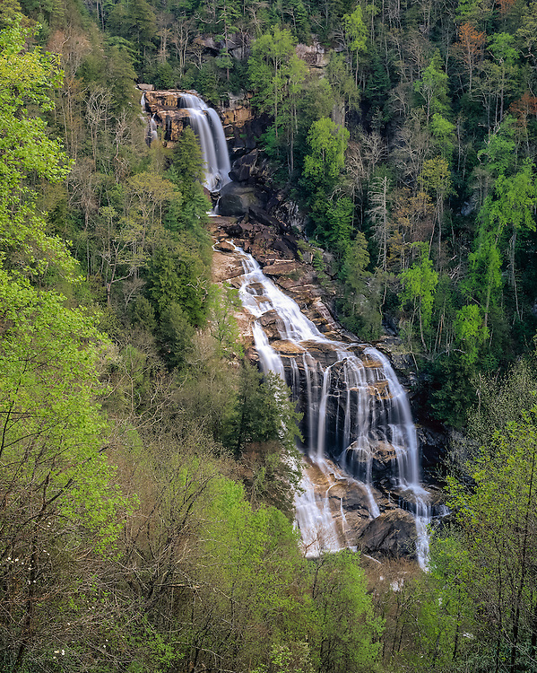 Misty Waterfall, Upper Whitewater Falls in spring, spring green trees, Nantahala National Forest, NC