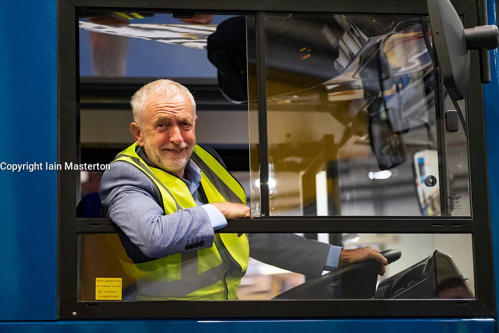"Falkirk, Scotland, UK; 20 August, 2018. Labour Leader Jeremy Corbyn and Scottish Labour Leader Richard Leonard visit Alexander Denis bus manufacturers in Falkirk as part of Labour's ""Build it in Britain"" policy."
