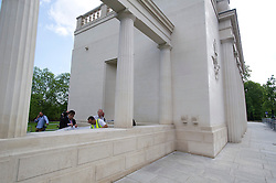 """© London News Pictures. 05/06/2013. London, UK. Repair work being carried out (bottom left) on the The RAF Bomber Command Memorial in London's Green Park which has been vandalised for a second time. Last week the word """"Islam"""" was sprayed onto the memorial in the aftermath of the killing of Drummer Lee Rigby in Woolwich.. Photo credit: Ben Cawthra/LNP"""