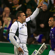 Bryan Habana, South Africa, goes over for a try during the South Africa V Samoa, Pool D match during the IRB Rugby World Cup tournament. North Harbour Stadium, Auckland, New Zealand, 30th September 2011. Photo Tim Clayton...