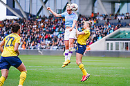 Manchester City Women forward Pauline Bremer (9) takes a header shot during the FA Women's Super League match between Manchester City Women and Arsenal Women FC at the Sport City Academy Stadium, Manchester, United Kingdom on 2 February 2020.