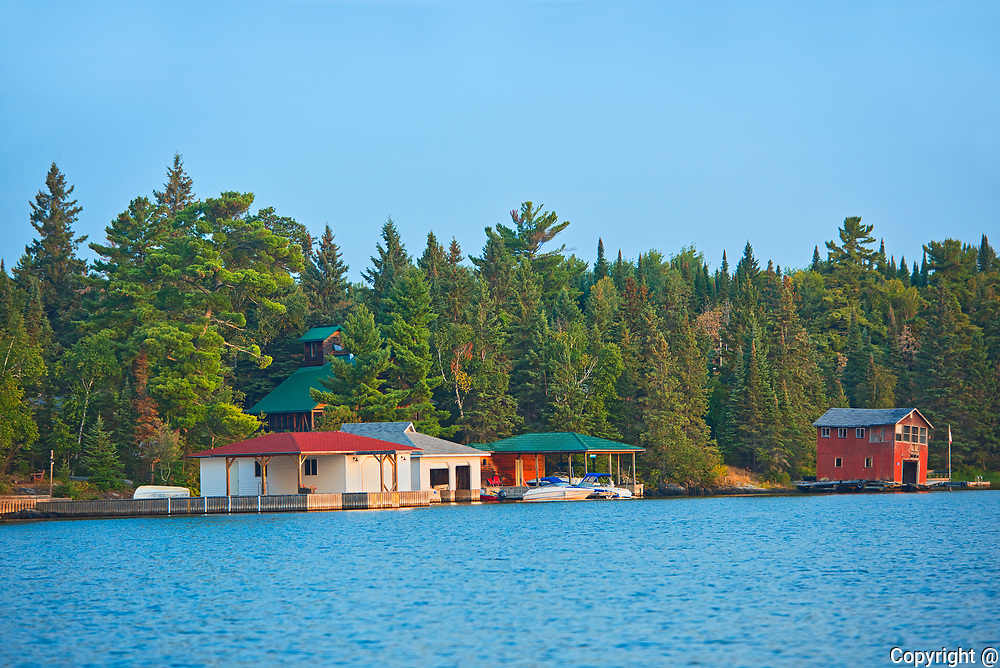 Coattage and boathouse on Lake of the Woods<br />Kenora<br />Ontario<br />Canada