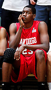 SHOT 1/28/12 5:03:26 PM - San Diego State's DeShawn Stephens #23 watches the closing moments of a loss to Colorado State during their regular season Mountain West conference game at Moby Arena in Fort Collins, Co. Colorado State upset 12th ranked San Diego State 77-60. (Photo by Marc Piscotty / © 2012)