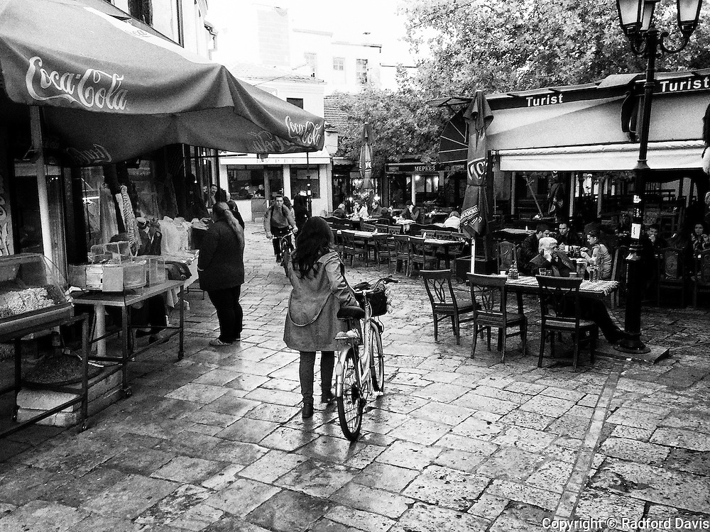 Streets and cafe of Skopje, Macedonia