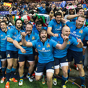 (C) Enrico Bacchin is delighted after the win. Italy celebrate after beating Scotland at the RBS Six Nations rugby union match between Scotland and Italy at Murrayfield Stadium in Edinburgh, Britain, 28th Feb 2015