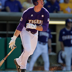 06 June 2009:  Blake Dean of LSU after connecting on a pitch in the first inning during game two of the NCAA baseball Super Regional between the Rice Owls and the LSU Tigers at Alex Box Stadium in Baton Rouge, Louisiana.