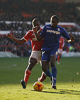 Birmingham City's Clayton Donaldson (R) and Nottingham Forest's Michail Antonio in action during todays match  <br /> <br /> Photographer Jack Phillips/CameraSport<br /> <br /> Football - The Football League Sky Bet Championship - Nottingham Forest v Birmingham City - Saturday 28th December - The City Ground - Nottingham<br /> <br /> © CameraSport - 43 Linden Ave. Countesthorpe. Leicester. England. LE8 5PG - Tel: +44 (0) 116 277 4147 - admin@camerasport.com - www.camerasport.com