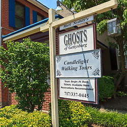 Gettysburg, PA, USA - June 30, 2013: The Ghosts of Gettysburg on Baltimore Street offers haunted tours.