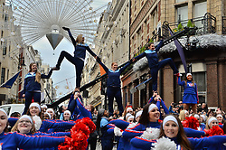 © Licensed to London News Pictures. 01/01/2019. London, UK.  Performers take part in London's New Year's Day Parade in central London. The event is one of the world's great street spectaculars with up to 10,000 performers from around the world and hosts marching bands, cheerleaders, leading companies, unions and local boroughs celebrating the arrival of 2019. Photo credit: Ray Tang/LNP