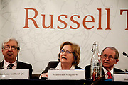 """London session of the Russel Tribunal on Palestine. """" Corporate Complicity in Israel's violations in international human rights law and international humanitarian law"""". Lord Anthony Gifford QC,left,  Mairead Corrigan and John Dugard."""