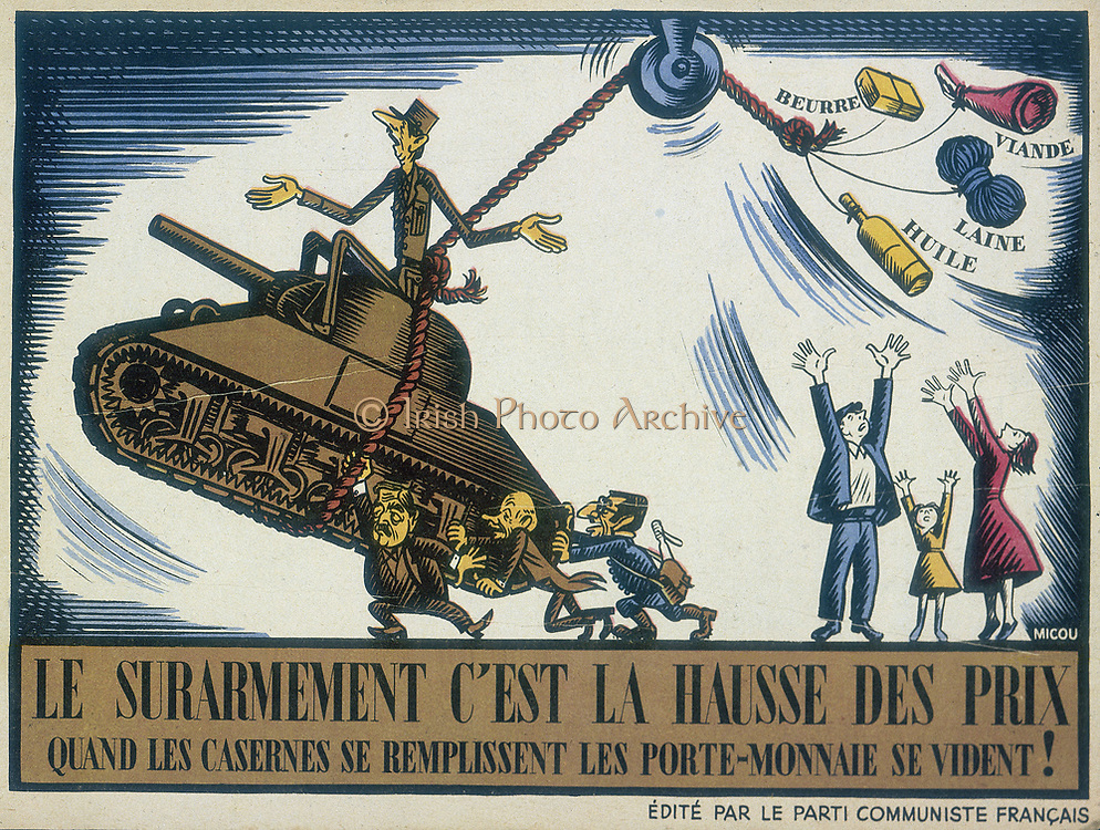 Charles de Gaulle (1890-1970) French General and first President of The Fifth Republic. De Gaulle as depicted in a 1950 anti-government cartoon by Micou issued by Le Parti Communiste Francais attacking the cost of armaments and the Atlantic Pact.
