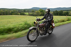 Denis Sharon riding his 1916 Harley-Davidson model F during the Motorcycle Cannonball coast to coast vintage run. Stage-2 (251-miles) from Keene, NH to Binghampton, NY. Sunday September 9, 2018. Photography ©2018 Michael Lichter.