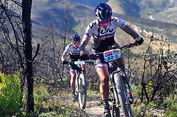 WELLINGTON SOUTH AFRICA - MARCH 23: Kaysee Armstrong and Serena Gordon during stage five's 39km time trial on March 23, 2018 in Wellington, South Africa. Mountain bikers gather from around the world to compete in the 2018 ABSA Cape Epic, racing 8 days and 658km across the Western Cape with an accumulated 13 530m of climbing ascent, often referred to as the 'untamed race' the Cape Epic is said to be the toughest mountain bike event in the world. (Photo by Dino Lloyd)