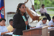 Special guest Catherine Mendez, Deputy National Authorizing Officer for the Economic Development Office of the Prime Minister, speaks during the TCGA's 2013 Annual General Meeting. Toledo Cacao Growers' Association (TCGA), Julian Cho Technical High School, Mile 14 Southern Highway, Toledo, Belize. January 26, 2013.