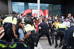 After a peaceful march of hundreds to the Georgia State Capitol in Atlanta, GA, USA on Friday, May 29, 2020, protestors returned to the area around the CNN Center and confronted police amid outrage over the death of George Floyd in Minneapolis. Photo by Ben Gray/Atlanta Journal Constitution/TNS/ABACAPRESS.COM