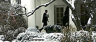 President Barak Obama walks to  the Oval Office after returning to the White House after meeting with House and Senate  Republicans on January 27, 2009.  by Dennis Brack
