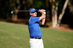 Former Florida placekicker Judd Davis tees off during the Chick-fil-A Peach Bowl Challenge at the Ritz Carlton Reynolds, Lake Oconee, on Tuesday, April 30, 2019, in Greensboro, GA. (Paul Abell via Abell Images for Chick-fil-A Peach Bowl Challenge)