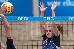 Loladina Zwaanswijk in action. The DELA NK Beach volleyball for men and women will be played in The Hague Beach Stadium on the beach of Scheveningen on 22 July 2020 in Zaandam.