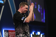 Chris Dobey applauds the crowd at the end of the match during the World Darts Championships 2018 at Alexandra Palace, London, United Kingdom on 27 December 2018.