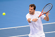 Brisbane, Australia, December 30: Tommy Haas of Germany plays a backhand shot during a training session at Pat Rafter Arena ahead of the 2012 Brisbane International Tennis Tournament in Brisbane, Australia on Friday December 30th, 2011. (Photo: Matt Roberts/Photo News)