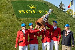 Team Belgium, Vanderhasselt Yves, Philippaerts Olivier, Mathy rançois Jr, Clemens Pieter<br /> Spruce Meadows Masters - Calgary 2019<br /> © Hippo Foto - Dirk Caremans<br />  08/09/2019