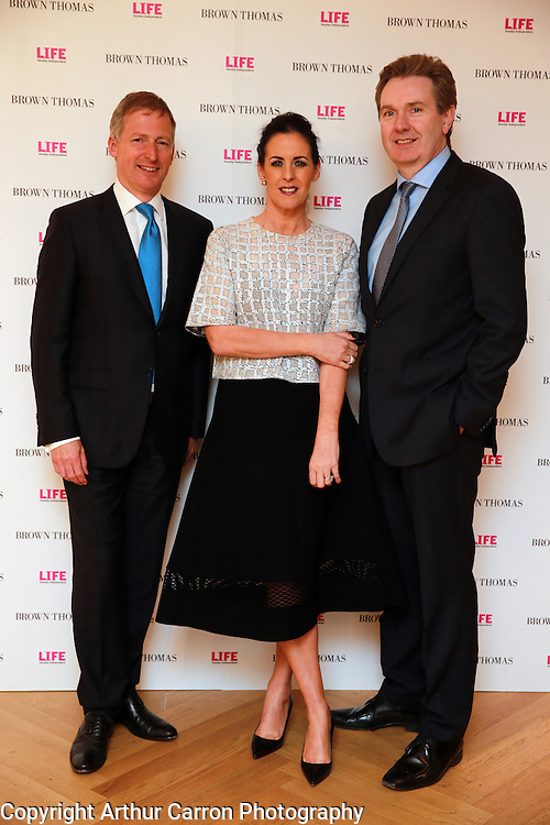 14/5/14 Stephen Sealy, Shelly Corckery and Stephen Rae at the 10th Anniversary celebrations of Life Magazine at Brown Thomas in Dublin. Picture:Arthur Carron