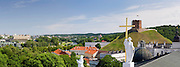 Panoramic view of the Cathedral Clocktower over the Cathedral/Katedra and towards Gediminas Tower/Boxto, Vilnius, Lithuania