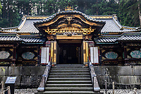 Taiyu-in at Rinnoji Nikko - Taiyuin-byo is the mausoleum of Iemitsu Tokugawa the shogun who was the grandson of Ieyasu. Rinnoji Temple was founded in 766 AD by the Buddhist hermit monk Shodo Shonin.  Rinnoji quickly became a popular retreat for ascetic monks who wished to meditate in the mountains.  It was once so important that it had 500 sub-temples under its rule.  Rinnoji is best known for its Sanbutsudoh Three Buddha Hall and the beautiful Japanese meditation garden Shoyo-en on its grounds.  The layout at Shoyo-en is modeled after Lake Biwa, showing the Japanese knack for representation through reduction and miniaturization.