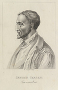 'Gerolamo Cardano (1501-1576) Italian mathematician, astrologer, physican: First clinical description of Typhus Fever. A gambler, he formulated rules of probability. Predicted his time of death and committed suicide to make his prediction true.'