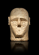 9th century BC Giants of Mont'e Prama Nuragic stone head from the statue of a boxer, Mont'e Prama archaeological site, Cabras. Museo archeologico nazionale, Cagliari, Italy. (National Archaeological Museum) - Black Background .<br />  <br /> If you prefer to buy from our ALAMY STOCK LIBRARY page at https://www.alamy.com/portfolio/paul-williams-funkystock/nuragic-artefacts.html - Type intoo the LOWER SEARCH WITHIN GALLERY box to refine search by adding background colour, etc<br /> <br /> Visit our NURAGIC PHOTO COLLECTIONS for more photos to download or buy as wall art prints https://funkystock.photoshelter.com/gallery-collection/Nuragic-Nuraghe-Towers-Nuragic-Artefacts-of-Sardinia-Pictures-Images/C0000M6ZtTuHVsSo
