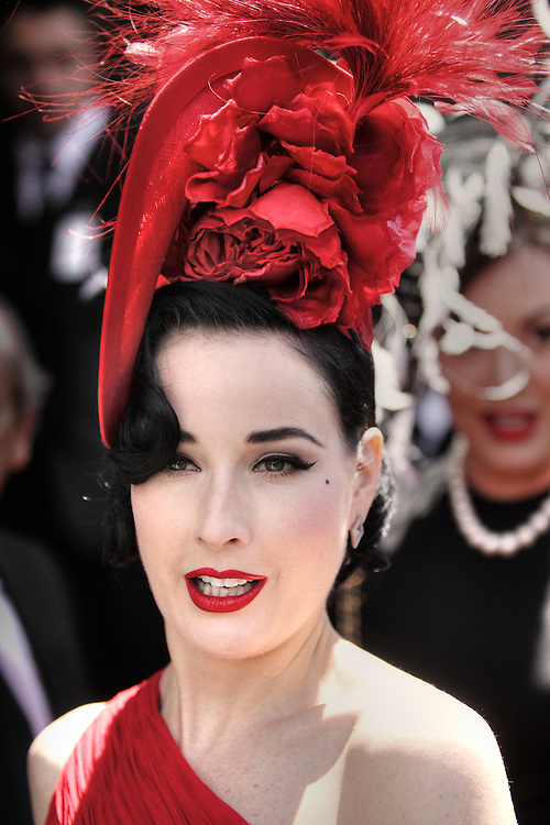 Dita Von Teese at the Lavazza marque. Victoria Derby Day at Flemimgton Races. Pic By Craig Sillitoe CSZ/The Sunday Age.29/10/2011 melbourne photographers, commercial photographers, industrial photographers, corporate photographer, architectural photographers, This photograph can be used for non commercial uses with attribution. Credit: Craig Sillitoe Photography / http://www.csillitoe.com<br /> <br /> It is protected under the Creative Commons Attribution-NonCommercial-ShareAlike 4.0 International License. To view a copy of this license, visit http://creativecommons.org/licenses/by-nc-sa/4.0/.