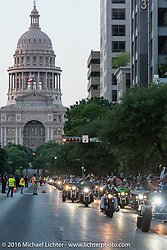 The big parade to Downtown Austin during the 2016 ROT (Republic of Texas Rally). Austin, TX, USA. Friday, June 10, 2016.  Photography ©2016 Michael Lichter.