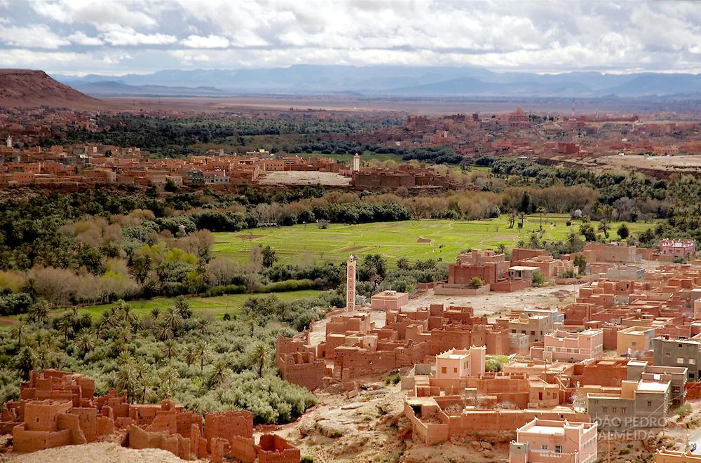Moroccan village at desert oasis