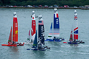 The fleet of five F50 jockey for position for the start of race two of practice. Event 4 Season 1 SailGP event in Cowes, Isle of Wight, England, United Kingdom. 8 August 2019: Photo Chris Cameron for SailGP. Handout image supplied by SailGP