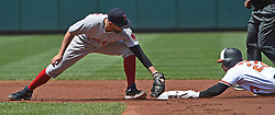 June 4, 2017 - Baltimore, MD, USA - Baltimore Orioles' Joey Rickard slides into second base ahead of the tag by Boston Red Sox's Deven Marrero for a double in the first inning on Sunday, June 4, 2017 at Oriole Park at Camden Yards in Baltimore, Md. (Credit Image: © Kenneth K. Lam/TNS via ZUMA Wire)