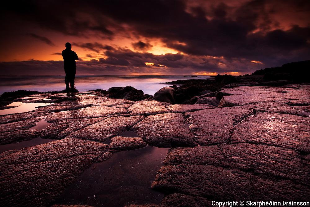Sunset observer at Reykjanes, west Iceland