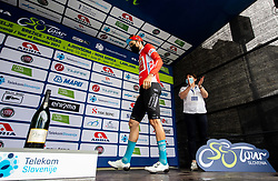 Winner in sprint classification Phil BAUHAUS of BAHRAIN VICTORIOUS celebrates at trophy ceremony after the 2nd Stage of 27th Tour of Slovenia 2021 cycling race between Zalec and Celje (147 km), on June 10, 2021 in Slovenia. Photo by Vid Ponikvar / Sportida