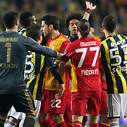 Fenerbahce's and Galatasaray's players during their Turkish superleague soccer derby match Fenerbahce between Galatasaray at Sukru Saracaoglu stadium in Istanbul Turkey on Saturday 17 March 2012. Photo by TURKPIX