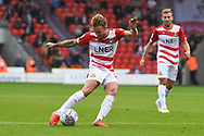 James Coppinger of Doncaster Rovers (26) takes a shot during the EFL Sky Bet League 1 match between Doncaster Rovers and Gillingham at the Keepmoat Stadium, Doncaster, England on 20 October 2018.