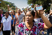 """01 FEBRUARY 2014 - BANGKOK, THAILAND: Thai voters hold up their national ID cards during a march to a polling place to vote. The voters eventually got to the polling place to find that anti-government protestors had forced its closure. Thais went to the polls in a """"snap election"""" Sunday called in December after Prime Minister Yingluck Shinawatra dissolved the parliament in the face of large anti-government protests in Bangkok. The anti-government opposition, led by the People's Democratic Reform Committee (PDRC), called for a boycott of the election and threatened to disrupt voting. Many polling places in Bangkok were closed by protestors who blocked access to the polls or distribution of ballots. The result of the election are likely to be contested in the Thai Constitutional Court and may be invalidated because there won't be quorum in the Thai parliament.    PHOTO BY JACK KURTZ"""