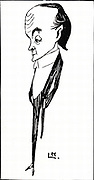 Max Beerbohm (1872-1956) British writer and caricaturist. One novel, 'Zuleika Dobson' (1912). Caricature by Laurence Houseman published 1901. Engraving