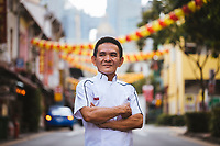 A portrait of Chan Hong Meng, the man behind the world's first Michelin-starred hawker stall, in Chinatown, Singapore.
