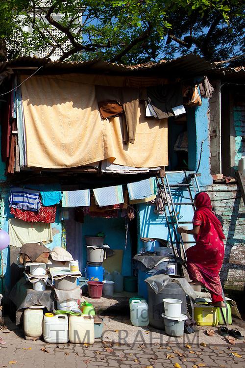 Slum housing and slum dwellers in Mahalaxmi area of Mumbai, India