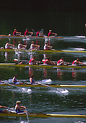 Lucerne, SWITZERLAND. [Heats of the M4+ and M4- at the start of the 1988  Lucerne International Regatta, Lake Rotsee. June 1988 [Mandatory Credit - Peter Spurrier/Intersport Images] 1988 Lucerne International Regatta